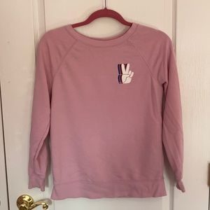 Pink Peace Sign Crew Neck